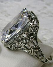 Sterling Silver 6ct White Gemstone Nouveau/Edwardian Filigree Ring Size Any/MTO