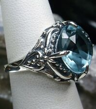 6ct Round Cut *Aquamarine* Sterling Silver Victorian Filigree Ring Size: Any/MTO