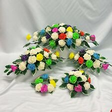 WEDDING FLOWERS TOP TABLE ARRANGEMENT CANDLE RING PACKAGE RAINBOW VIBRANT COLOUR