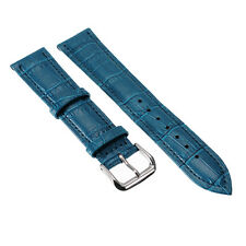 Unisex Blue Genuine Leather Alligator Crocodile Grain Watch Strap Band Men Women