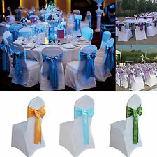 Wedding Organza Satin Chair Cover Sash Bow Ribbon Party Banquet Hotel Decoration