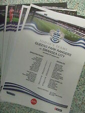 QPR 2012-2013 PRESS/TEAMSHEETS: PREMIER LEAGUE: CHOOSE FROM THE DROP DOWN LIST !