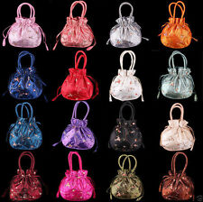 Handmade Chinese Embroider Flower Handbags Silk Satin Jewelry Bags Pouches