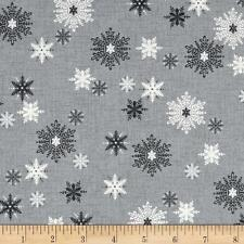 Scandi 3 Christmas Quilt Fabric Snowflakes Gray Makower UK Premium Cotton
