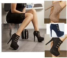 Ladies Stiletto Ankle Boots Faux Suede Zip High Heels Platform Booties Shoes