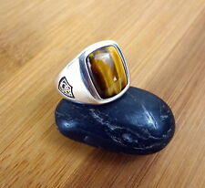 Mens CTR Ring Sterling Silver 925 Tigers Eye Stone Sz 7 8 9 10 11 DB Design $250