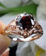 1.6ct Natural Red Garnet 10k Solid Rose Gold Filigree Daisy Ring {Made To Order}