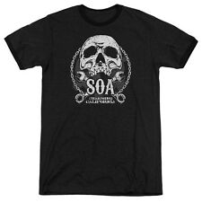 Sons Of Anarchy Soa Club Mens Adult Heather Ringer Shirt Black
