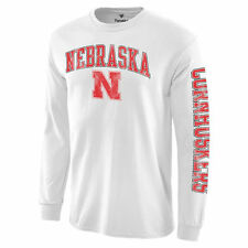 Nebraska Cornhuskers White Distressed Arch Over Logo Long Sleeve Hit T-Shirt