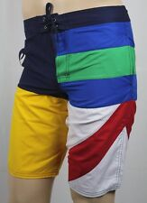 Polo Ralph Lauren Blue Yellow Red White Rugby Swim Board Trunks NWT
