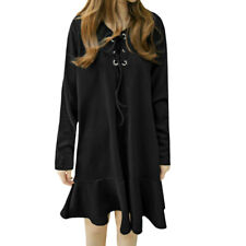 Woman Lace Up Front Long Sleeves Flouncing Hem Tunic Dress