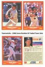 1988 Score Rookie & Traded Baseball Team Sets ** Pick Your Team Set **