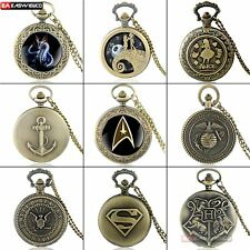 Retro Bronze Vintage Quartz Pocket Watch Necklace Eagle Pendant Alice Chain Gift
