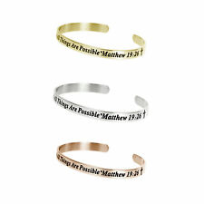 Stainless Steel Christian Bible God All Things Possible Cuff Wristband Bangle
