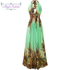 Angel-fashions Women's Halter Deep V Neck Peacock Printed Beaded Party Dress 183