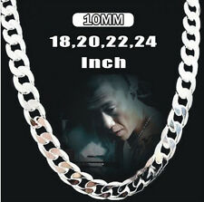 Wholesale10MM 16-24INCH Mens Solid Silver Chain Boy 925Silver  chain Necklace