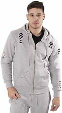 Mens Casual Street Wear Hoody Ripped Details Hooded Jacket By L&F Sizes S-XXL