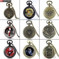 Classic Retro Quartz Vintage Pocket Watch New Bronze Necklace Chain Harry Potter