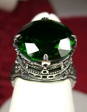 8ct Green *Emerald* Sterling Silver Leaf Queen Filigree Ring (MTO/New) Size Any