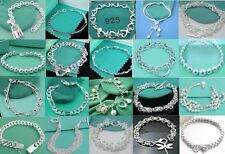 wholesale Fashion High quality jewelry solid SILVER Bracelet/bangle+Gift Box925