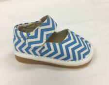 Discontinued Girl's Toddler Leather Blue Chevron Print Mary Jane Squeaky Shoes