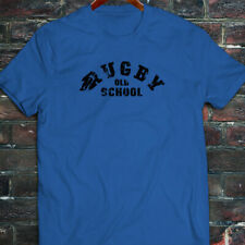 RUGBY OLD SCHOOL SPORTS MATCH GAME BALL VINTAGE Mens Blue T-Shirt