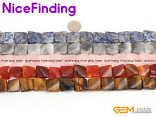 """16mm Natural Square Twist Gemstone Beads For Jewelry Making Loose Beads 15"""" DIY"""