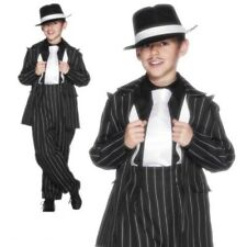Gangster Zoot Mafia Boys Costume + Braces1920s Pinstripe Suit Fancy Dress Outfit