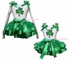 St Patrick Clover White Cotton Top Kelly Green Satin Trim Skirt Girls Set NB-8Y