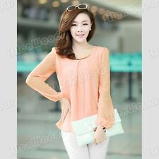 Fashion New Womens Loose Chiffon Blouse Tops Casual Shirt Korean Long Sleeve Top