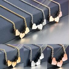 Fashion 3 Heart Women Rose Gold Stainless steel Jewelry Charms Necklace Pendant