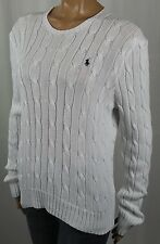 Ralph Lauren White Cable Knit Crewneck Sweater Navy Blue Pony NWT