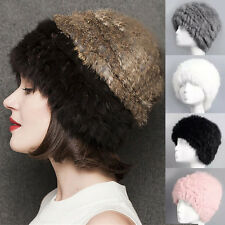 Fashion Women Winter Warm Nature Fur Headgear Cap Real Rabbit Fur Hat Bonnet