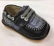 Boy's Leather Toddler Black Plaid Squeaky Shoes