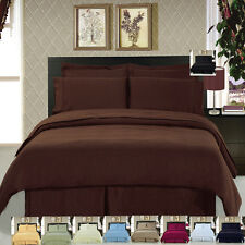 Queen Size 100% Brushed Microfiber Super Soft Luxury 8PC Solid Bedding Set