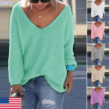 Fashion Women V Neck Casual Loose Batwing Sleeve Sweater Blouse Jumper Pullover