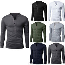 Fashion Mens M-2XL Henley Muscle Slim Long Sleeve Fitness T-shirts Casual Tops