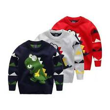 Baby Boy Toddler Knitted Dinosaur Winter Sweater Pullover Tops Clothes Cardigan
