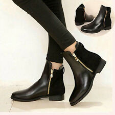 NEW Women Flat Bottom Martin Boots PU Leather Girls Double Zipper Ankle Shoes AU
