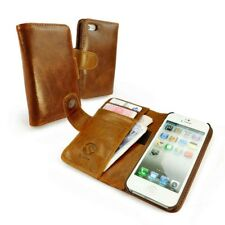 Tuff-Luv Vintage Leather Wallet-Style Case Cover for Smartphones - Brown