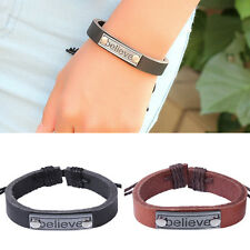 BELIEVE Man Wrist String Band Bracelet Wrap Leather Hemp Cuff Black Brown