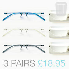 3 PAIRS New Memoflex Rimless READING GLASSES - Grey, Blue & Clear +1.0+1.5+2+2.5