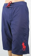 Polo Ralph Lauren Navy Blue Swim Shorts Trunks Red Big Pony NWT