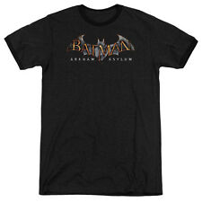 Batman Aa Arkham Asylum Logo Mens Adult Heather Ringer Shirt Black