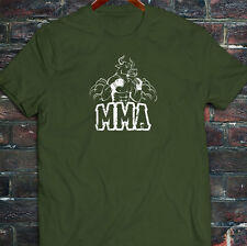 MMA FIGHTING BULL CAGE FIGHT MIXED MARTIAL ARTS Mens Military Green T-Shirt
