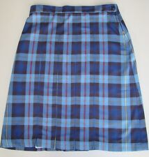 LANDS' END Women's Blue Plaid Box Pleat Skirt Sizes 0 & 2 School Uniform