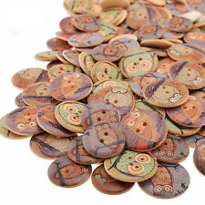 50Pcs Wooden Owl Button DIY Scrapbooking Patchwork Sewing Crafts Home Decor