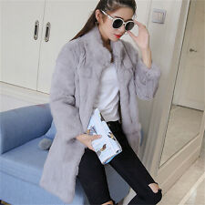 Luxury Rex Rabbit Fur Women's Long Coat Jacket Overcoat 2017 Outwear Garment