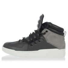 DOLCE&GABBANA New Men grey leather high Sneakers Shoes Made in Italy