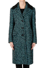 PRADA New woman Black blue virgin Wool blend Coat Made in ITALY NWT
